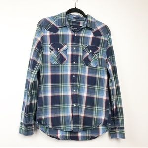 Mens AEO Blue Plaid Pearl Snap Button Shirt M